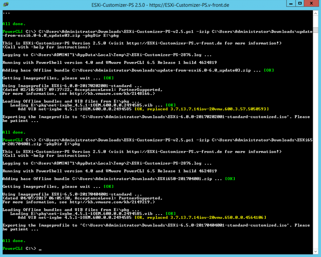 Powershell script to customise drivers into ESXi
