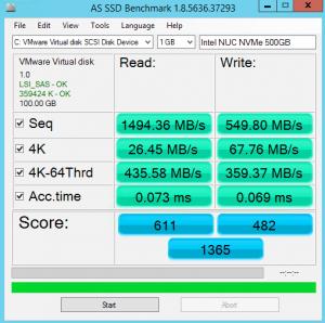 NUC 500GB NVMe MBps