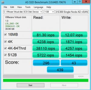 SM E300 Single Node vSAN IOPS