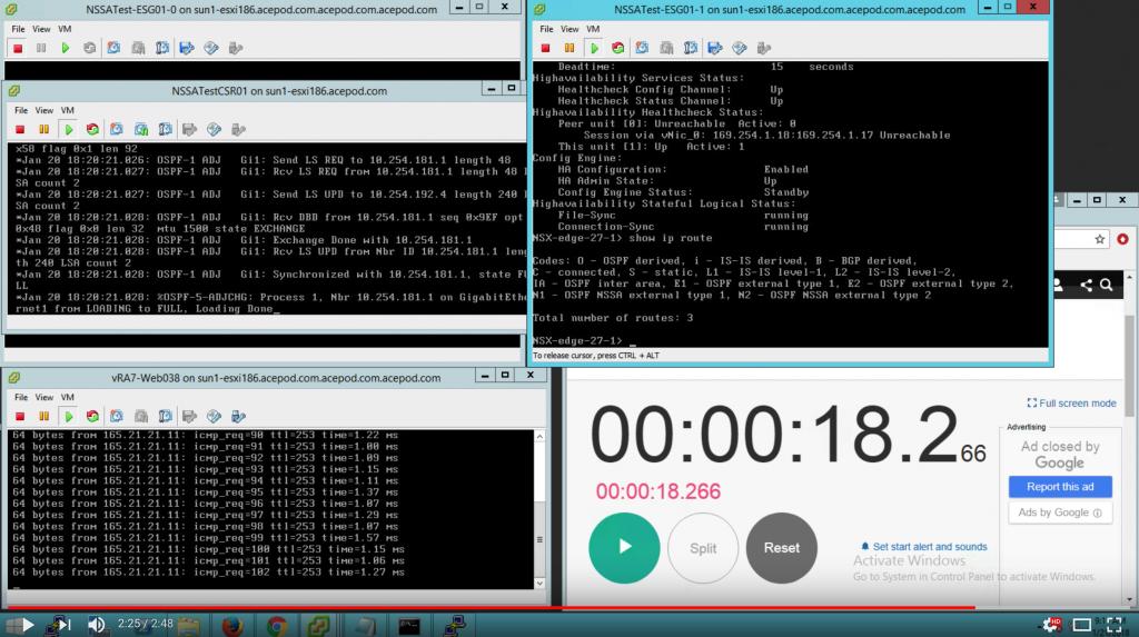NSX-v Testing Series – Part 1 – ESG HA, OSPF, Graceful Restart